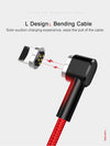 USAMS 1m L-Design Magnetic tip Data sync charger cable, Nylon wrapped.