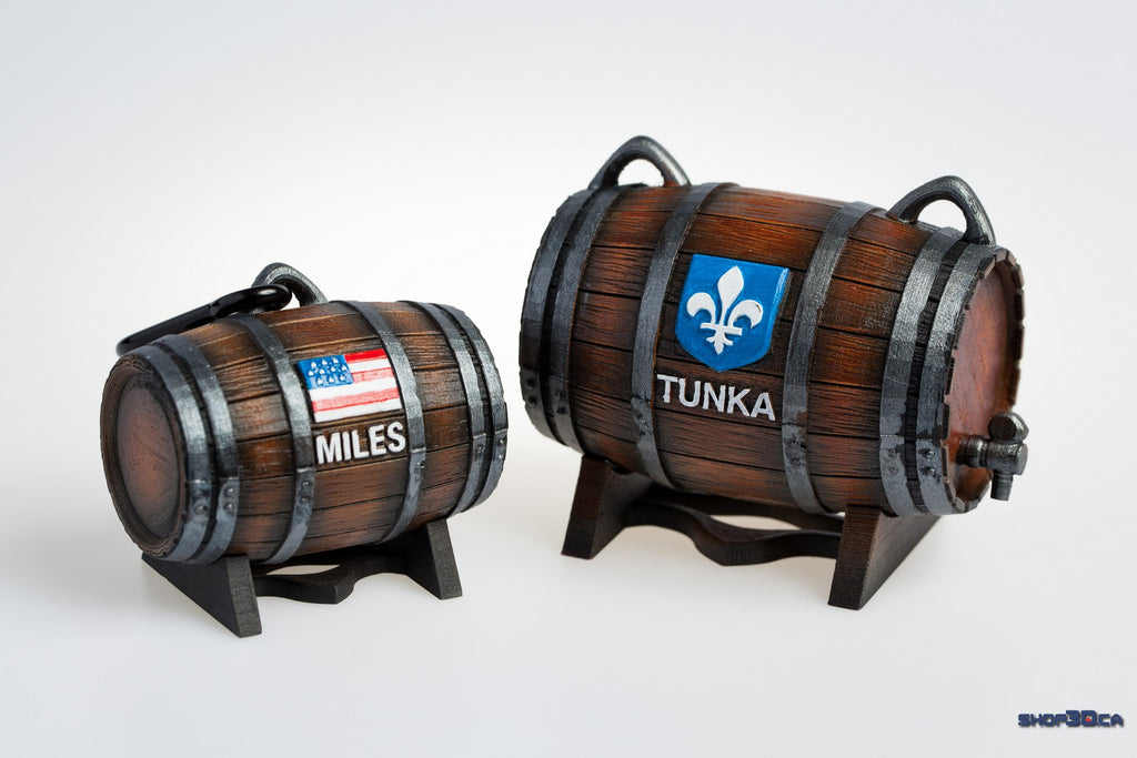 Customized 3D Printed Whiskey Barrel for Dogs/Pets (Finished and Painted)
