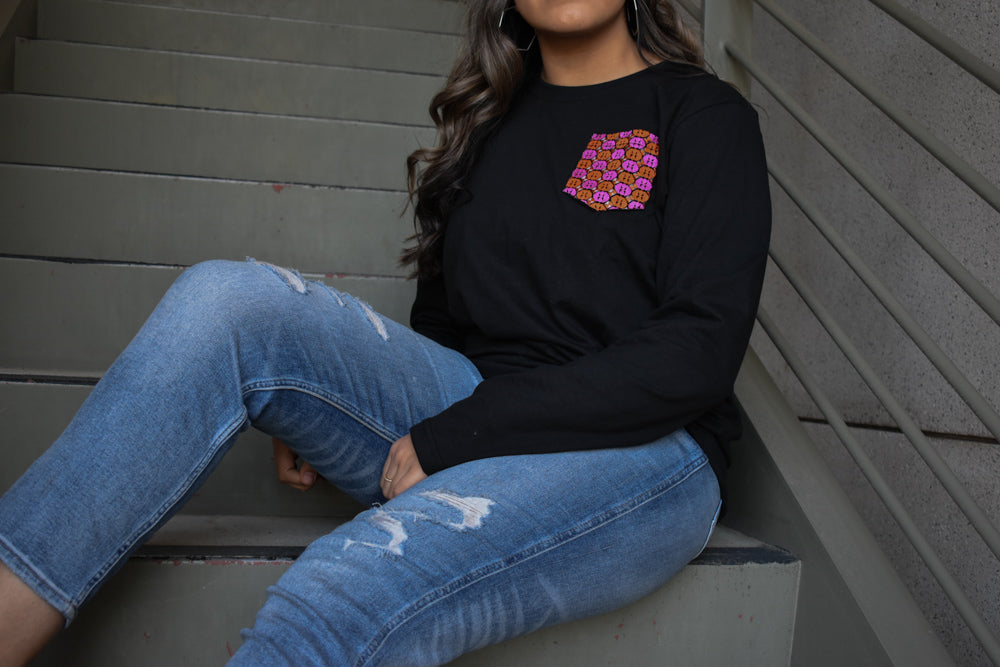Women's - Black Full Sleeve Phulkari Pocket Tee