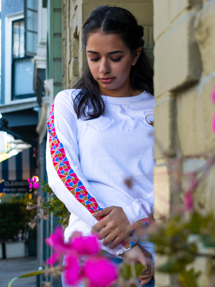 White Phulkari Striped Long Sleeve