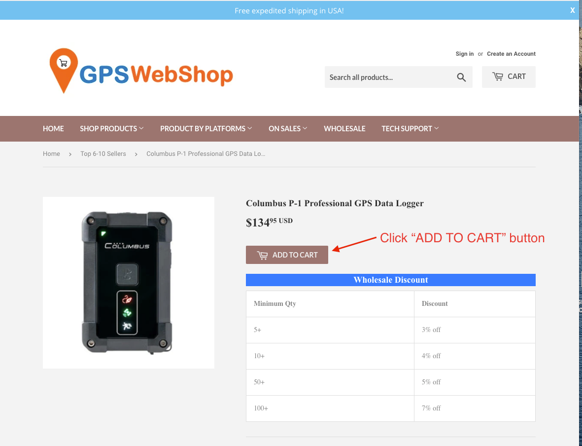 GPS Wholesale discount by tier