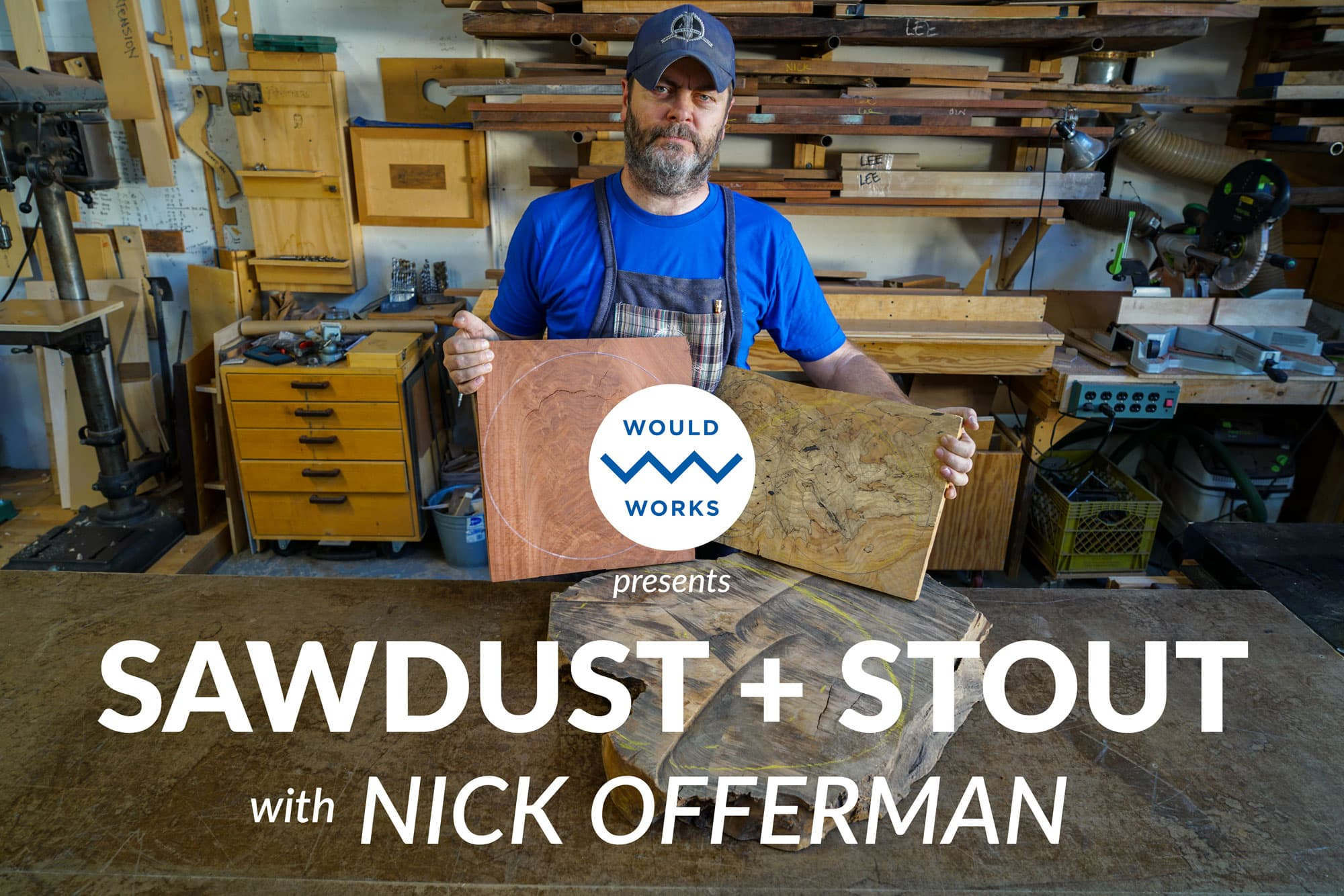 Nick Offerman in the shop.
