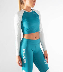 ECo45 | CoolJade™ Widow Crop Rashguard | Bay Blue/Aluminum