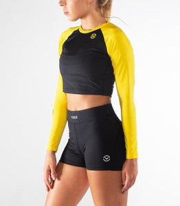 ECo45 | Widow Stay Cool Crop Rashguard | Lemon/Black
