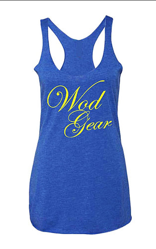Wod Gear Script Tri Blend Racerback Tank Royal Blue/Yellow
