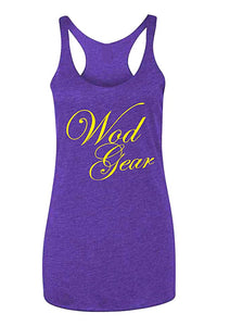 Wod Gear Script Tri Blend Racerback Tank Purple/Yellow