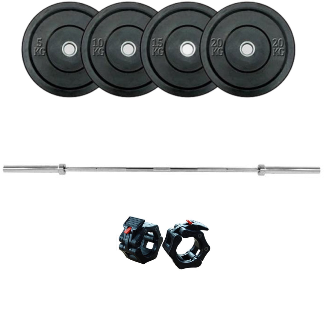 Olympia 20kg Barbell and Bumper Plate Package 100kg