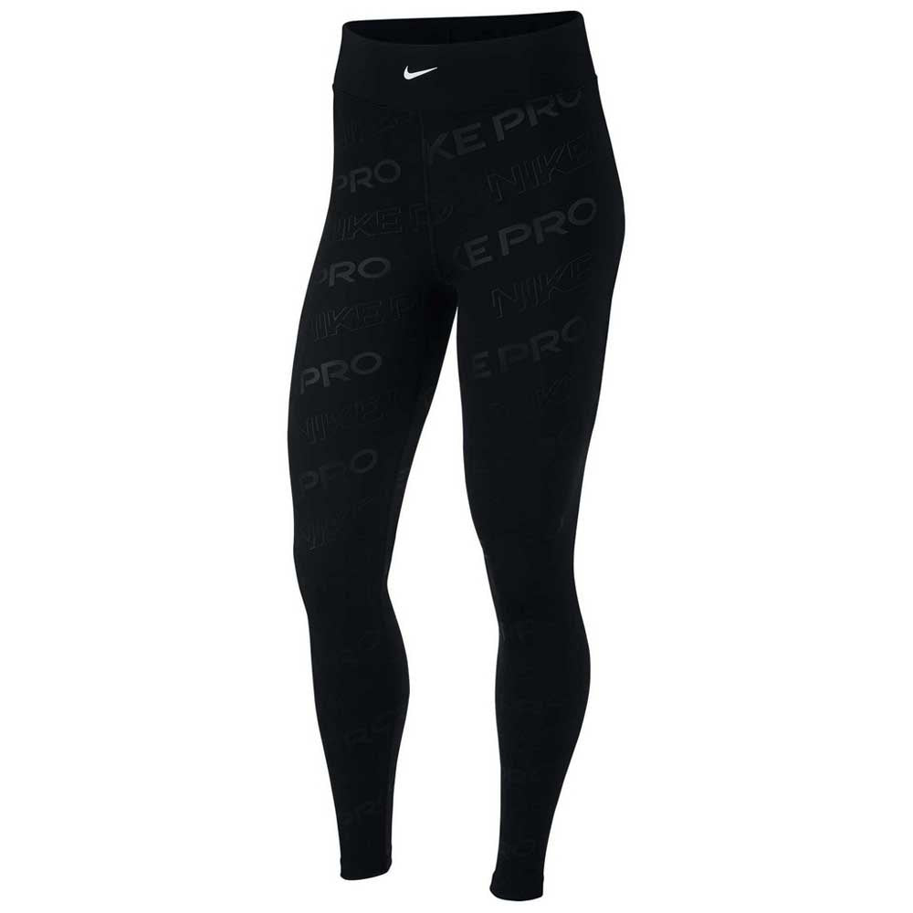 Nike Pro Women's Printed Tights - Black/Black/Metallic Silver
