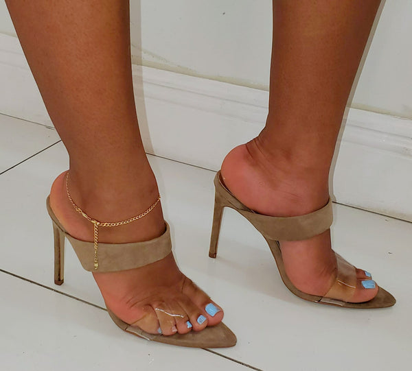 Taupe Suede High Heel Shoes