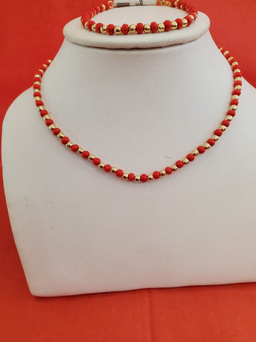 Red Eye Necklace and Bracelet