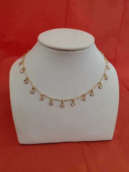 Gold Rhinestones Necklace