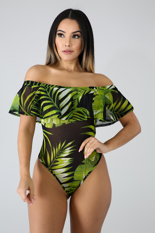 Sheer Ruffle Palms Bodysuit