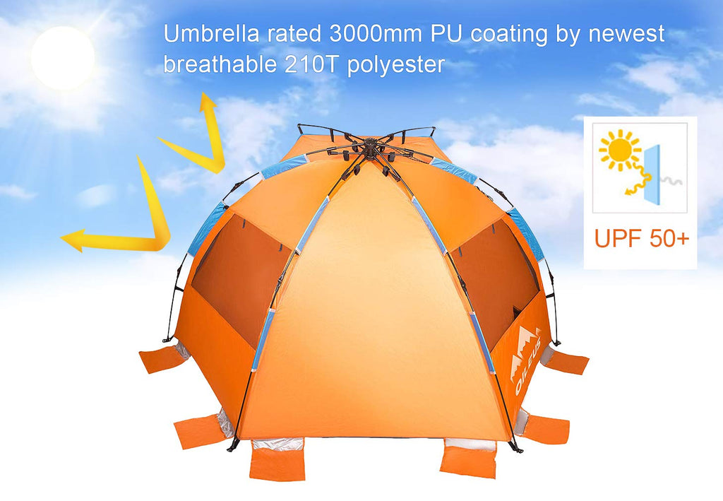 Oileus® X-Large 4 Person Beach Tent & Sun Shelter