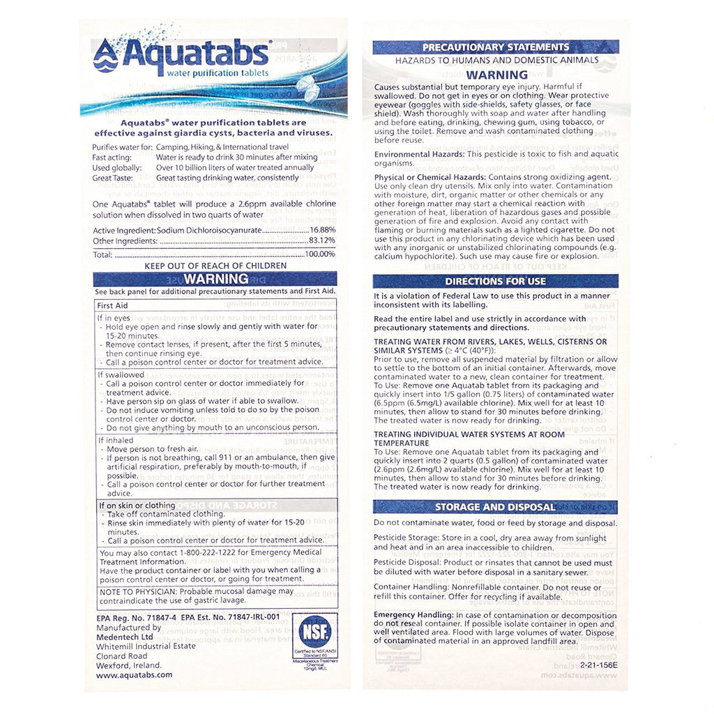 Aquatabs AQT100 Water Purification Tablets (Pack of 100)