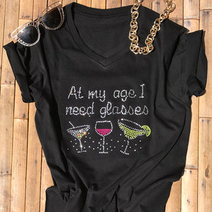 1d8d83e9ad2c Clouet Street · Women Rhinestone T-Shirts At My Age I Need Glasses Stylish  Women Top Funny Women Tee Birthday Gift Christmas Mother s Day Workout Shirt