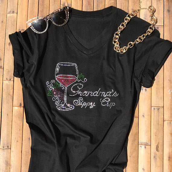 Women Rhinestone T Shirts Grandmas Sippy Cup Stylish Top Funny Tee Birthday Gift