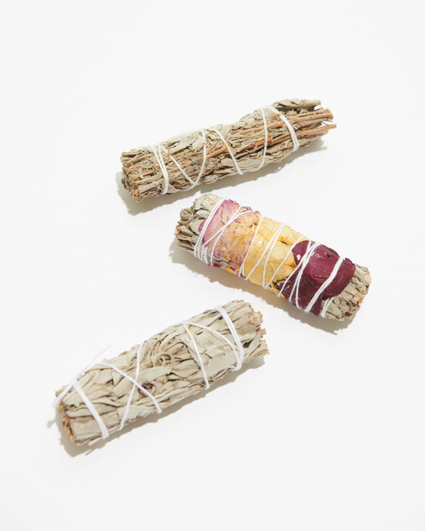 Sage + Rose Petals Smudge Stick - Liv Rocks + Cute Face Masks