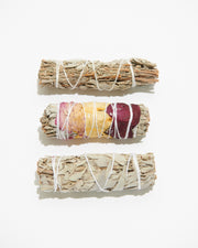 Wholesale White + Blue Sage Smudge Sticks - Liv Rocks + Cute Face Masks