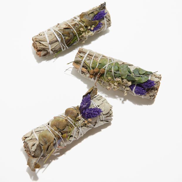 Sage + Lavender + Eucalyptus Dollar Smudge Sticks