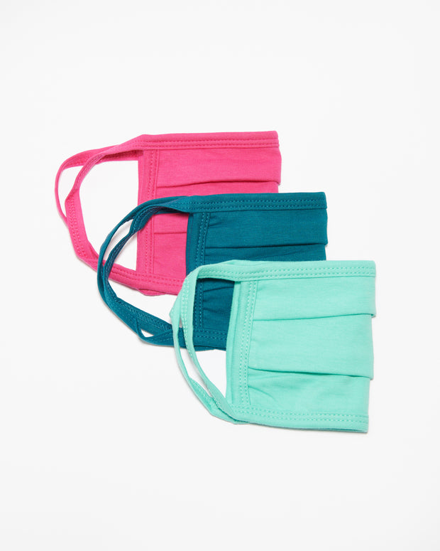 Pleated Face Masks - Pink/Mint/Aqua - Liv Rocks + Cute Face Masks