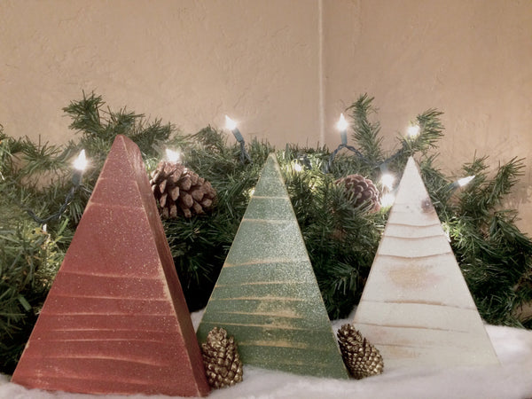 primitive christmas trees set of 3 - Primitive Christmas Trees