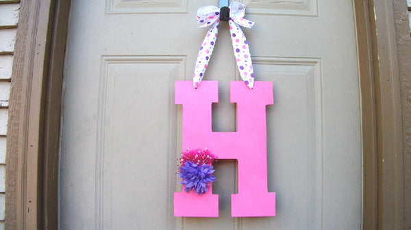 Door Hanger Nursery Art Monogrammed Gift Bedroom Wall Decal Decorative Letters