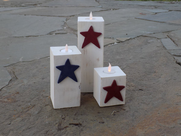 Distressed Patriotic Wood Candle Holders - Red River Valley Designs