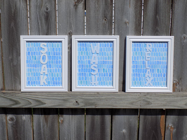 Handmade Bathroom Wall Decor - Set of 3 bathroom pictures - Red River Valley Designs