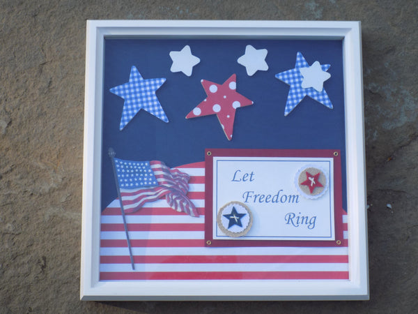 Patriotic Shadow Box Wall Art - Red River Valley Designs