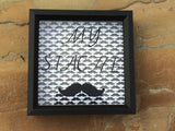 Mustache Box, My Stache Money Box, Shadow Box Art, Personalized Bank - Red River Valley Designs
