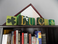 St Patricks Day Block Set Stacking Blocks Irish Decor Wood Block Art Home Accents