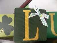 St Patricks Day Block Set Stacking Blocks Irish Decor Wood Block Art Home Accents - Red River Valley Designs