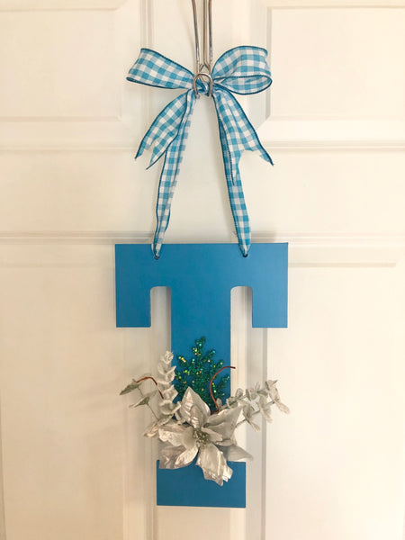 Blue Monogram Winter Door Hanger - Red River Valley Designs
