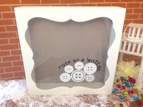 Cute As A Button Baby Shower Card Box, Card Holder - Red River Valley Designs