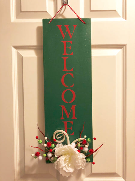Whimsical Christmas Hanging Welcome Sign - Red River Valley Designs