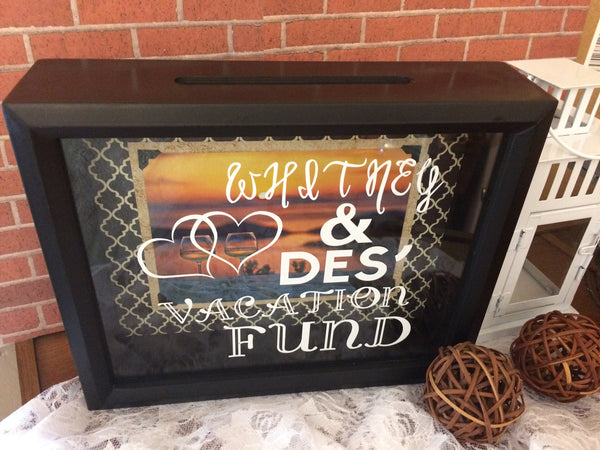 Personalized Vacation Fund Shadow Box Bank