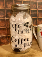 Coffee Helps Mason Jar Money Jar - Red River Valley Designs