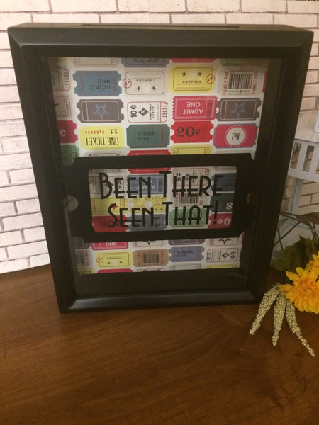 Ticket Holder Shadow Box Bank - Keepsake Box - Red River Valley Designs