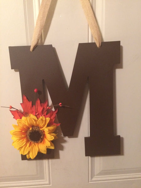 Autum Door Hanger Monogrammed Gifts Front Door Decoration Wedding Present Decorative Letters, Autumn Decor