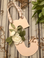 Peony Blush Monogram Door Hanger - Red River Valley Designs