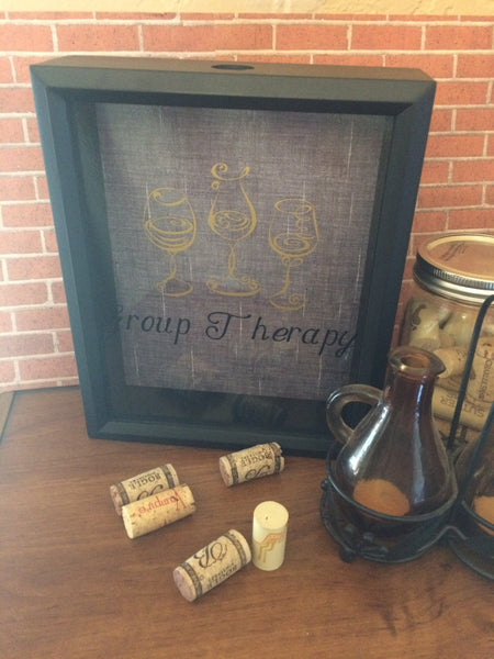 Group Therapy Wine Cork Keeper, Shadow Box Art - Red River Valley Designs