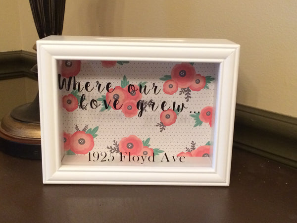 Where Our Love Grew Keepsake Shadow Box Bank - Red River Valley Designs