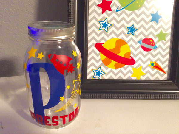Personalized Piggy Bank Outer Space Decor