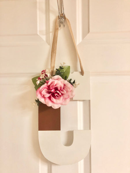Color Block Monogram Door Hanger - Red River Valley Designs