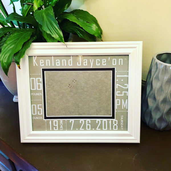 Birth Info Picture Frame - Red River Valley Designs