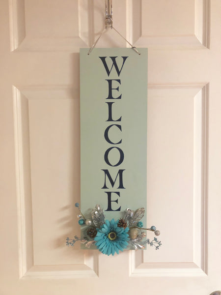 Blue winter Hanging Welcome Sign