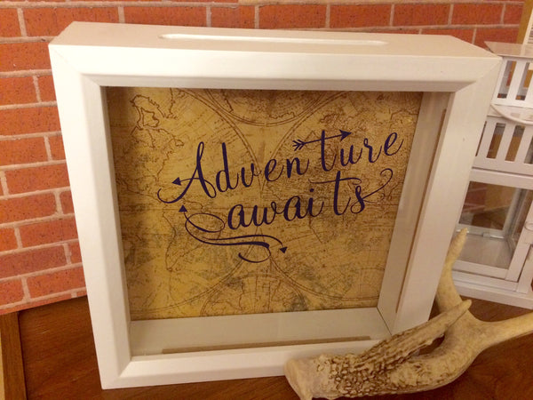Adventure Awaits Shadow Box Bank - Adventure Fund - Red River Valley Designs
