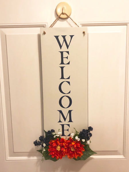 Navy and Orange Hanging Welcome Sign