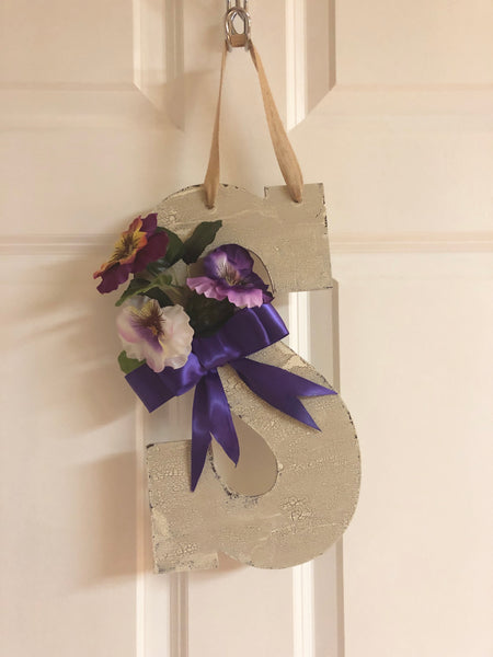 Farmhouse Pansy Monogram Door Hanger - Red River Valley Designs