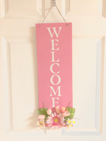 Pink Spring Floral Welcome Sign - Red River Valley Designs